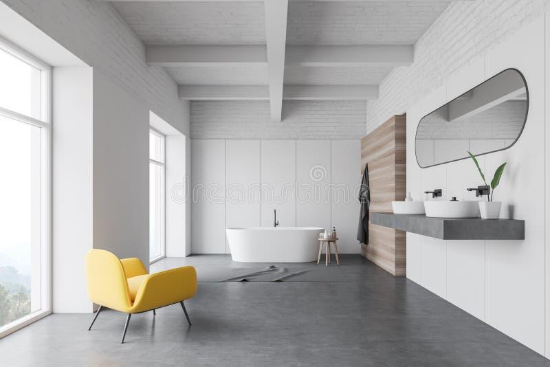 Белый интерьер bathroom, двойная раковина и ушат бесплатная иллюстрация
