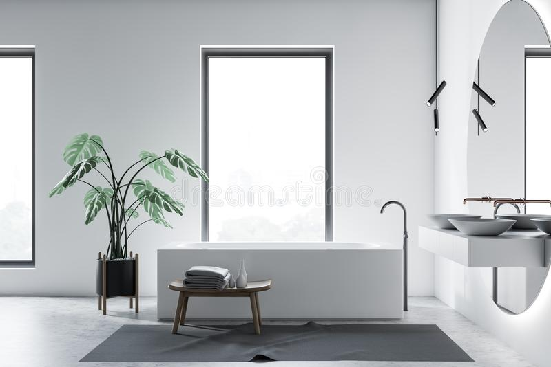 Белый интерьер bathroom просторной квартиры, ушат и двойная раковина иллюстрация вектора