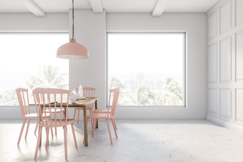 Белый и бежевый интерьер столовой просторной квартиры иллюстрация вектора
