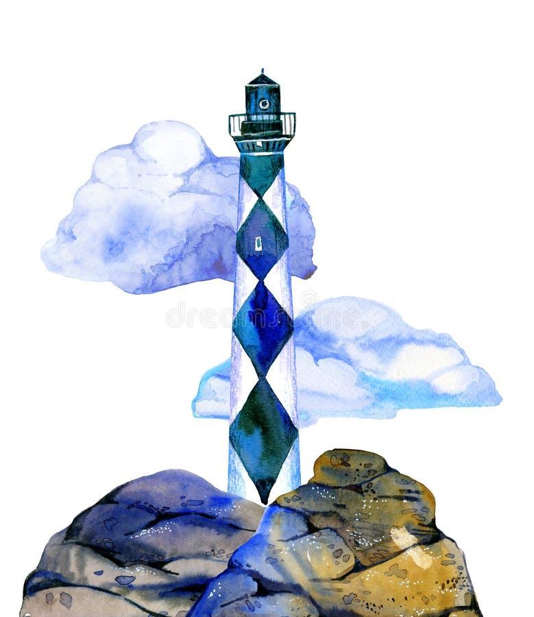 Белый и голубой маяк мультфильма на каменном побережье с облаками на предпосылке Нарисованная рукой иллюстрация акварели иллюстрация вектора