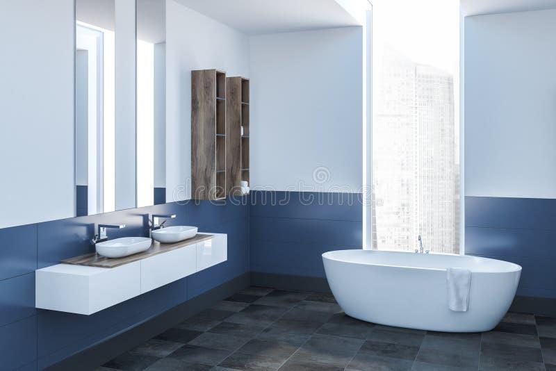 Белый и голубой угол ванной комнаты, белый ушат бесплатная иллюстрация