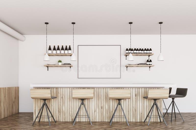 Белый и деревянный бар, плакат бесплатная иллюстрация