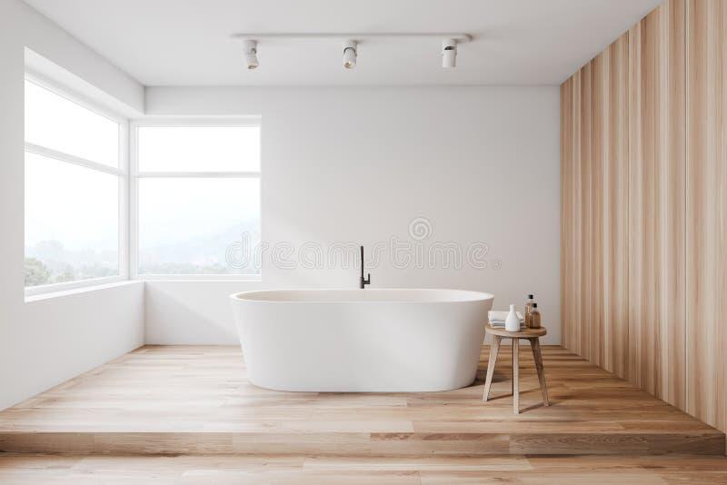 Белый и деревянный интерьер bathroom, ушат бесплатная иллюстрация