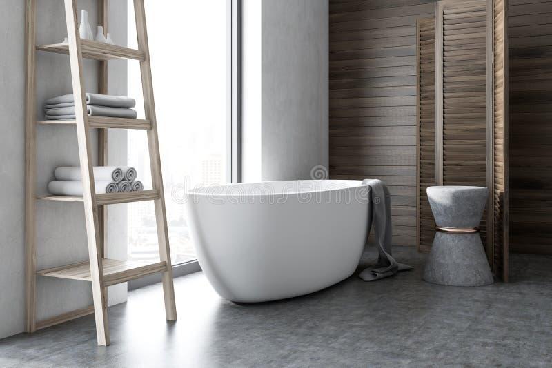 Белый и деревянный роскошный угол ванной комнаты иллюстрация штока
