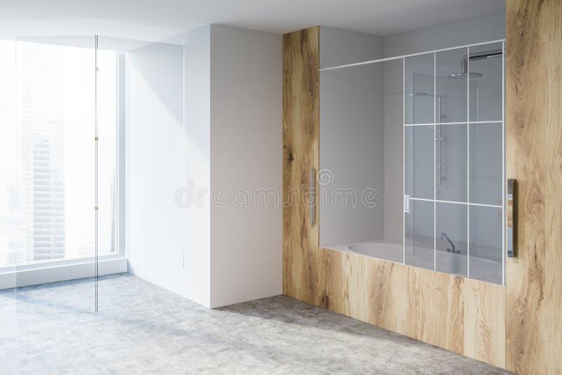 Белый и деревянный угол ванной комнаты, ушат иллюстрация вектора