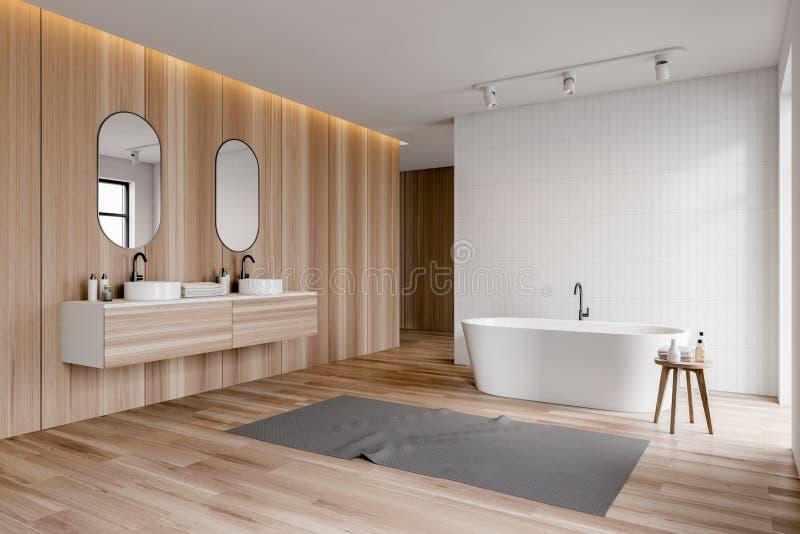 Белый и деревянный угол bathroom, двойная раковина, ушат иллюстрация штока