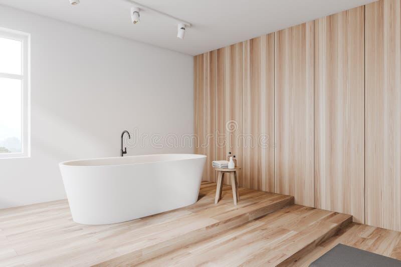 Белый и деревянный угол bathroom, ушат иллюстрация вектора