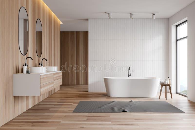 Белый и деревянный bathroom, двойная раковина и ушат бесплатная иллюстрация