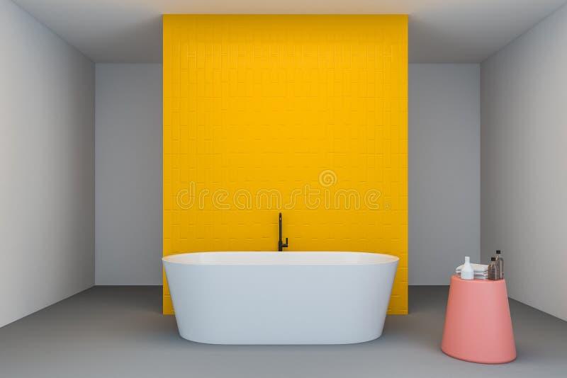 Белый и желтый интерьер bathroom, ушат иллюстрация вектора