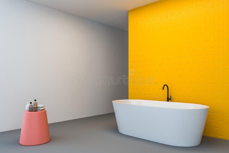 Белый и желтый угол bathroom, ушат иллюстрация штока