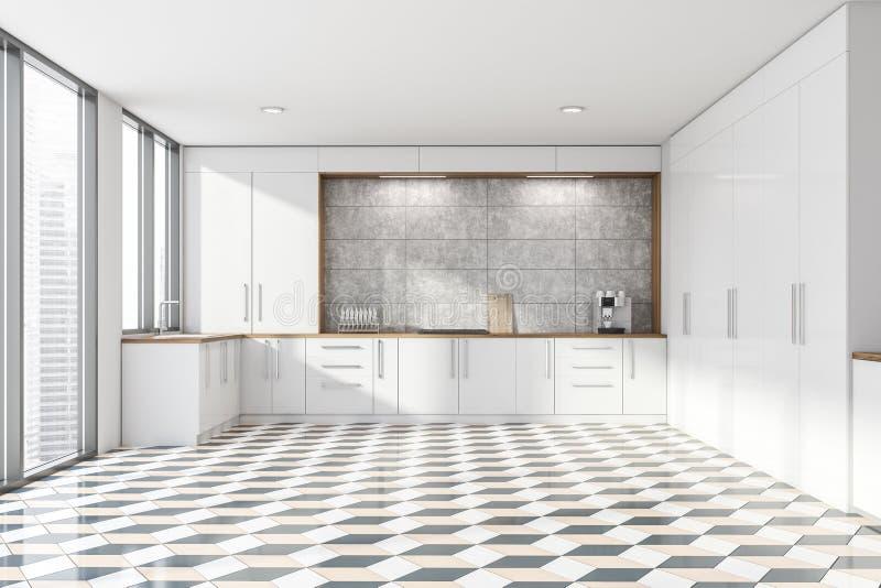 Белый и конкретный интерьер кухни, countertops иллюстрация вектора