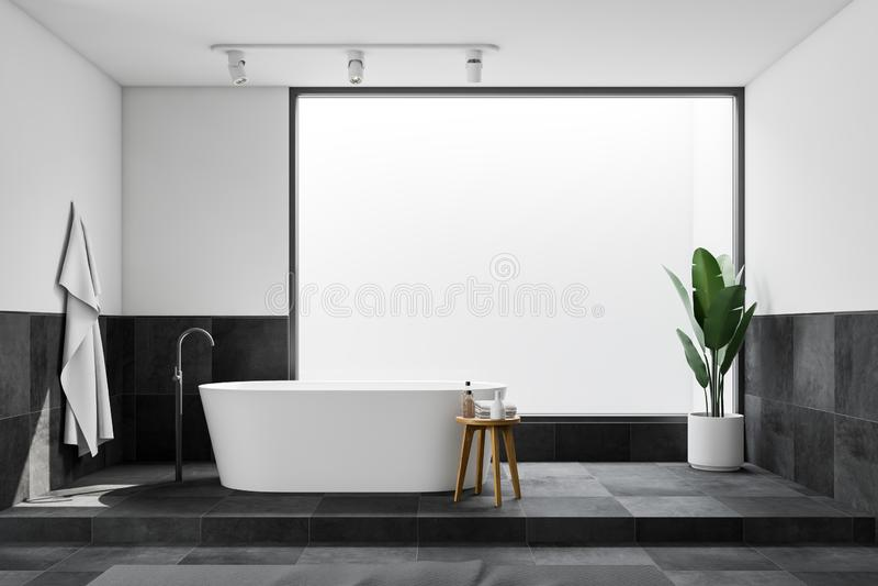 Белый и крыть черепицей черепицей интерьер bathroom просторной квартиры, ушат иллюстрация штока