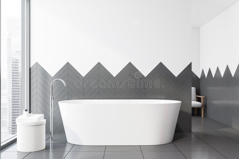 Белый и серый крыть черепицей черепицей интерьер bathroom, ушат иллюстрация вектора