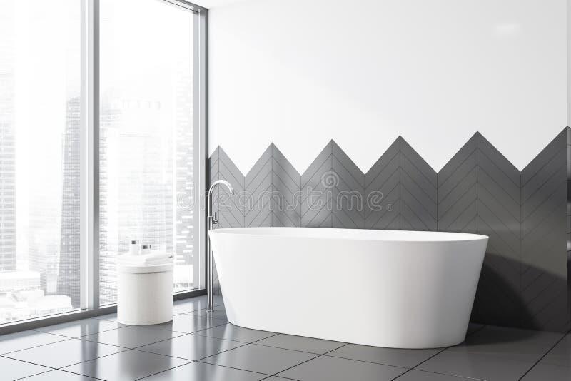 Белый и серый крыть черепицей черепицей угол bathroom, ушат бесплатная иллюстрация