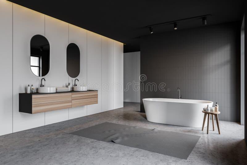 Белый и серый угол bathroom, двойная раковина, ушат иллюстрация вектора