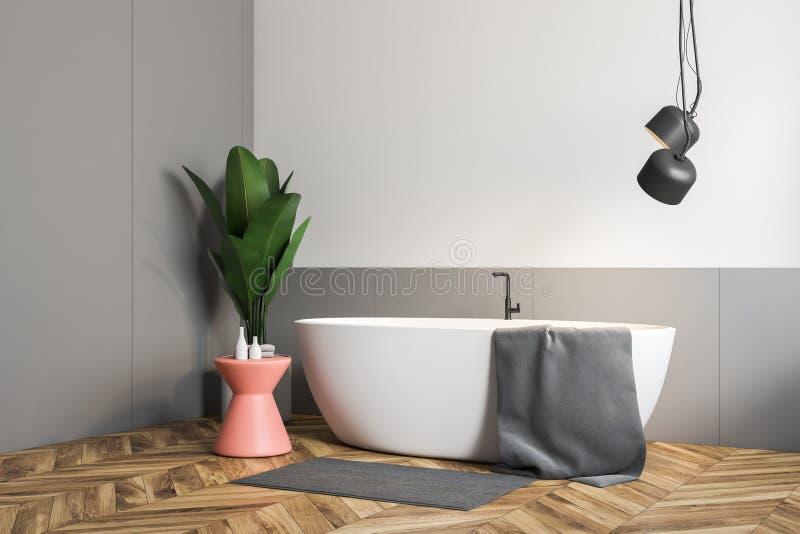 Белый и серый bathroom, белый ушат бесплатная иллюстрация