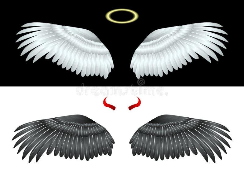 Белый и черный ангел крыльев иллюстрация вектора