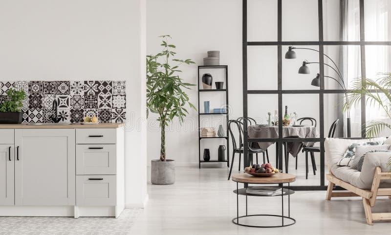 Белый и черный минимальный интерьер кухни с заводом трясины в баке и вещи на журнальном столе стоковое фото