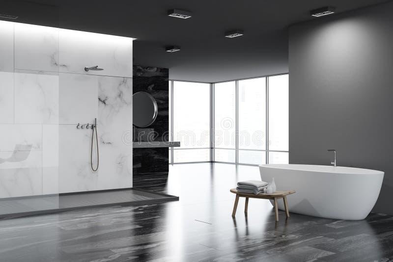 Белый и черный угол ванной комнаты, ушат бесплатная иллюстрация