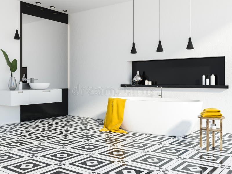 Белый и черный угол ванной комнаты, белый ушат иллюстрация штока