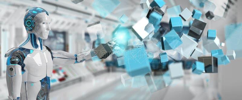 Белый киборг используя голубой цифровой перевод структуры 3D куба иллюстрация вектора