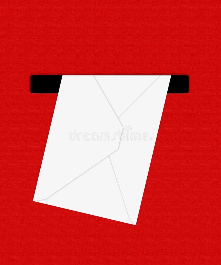 Белый конверт в красном крупном плане крайности почтового ящика иллюстрация 3d иллюстрация вектора
