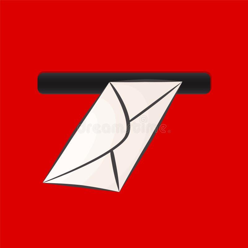 Белый конверт в крупном плане красного почтового ящика весьма, illu вектора запаса иллюстрация штока