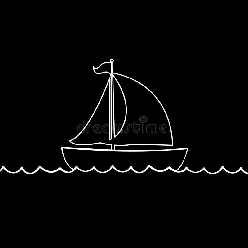 Белый контур значка шлюпки яхты парусного судна изолированного на черной предпосылке иллюстрация штока