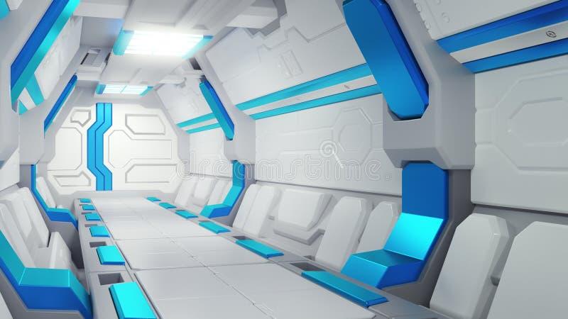 Белый коридор космического корабля с голубым оформлением illustartions корабля 3d научной фантастики иллюстрация вектора
