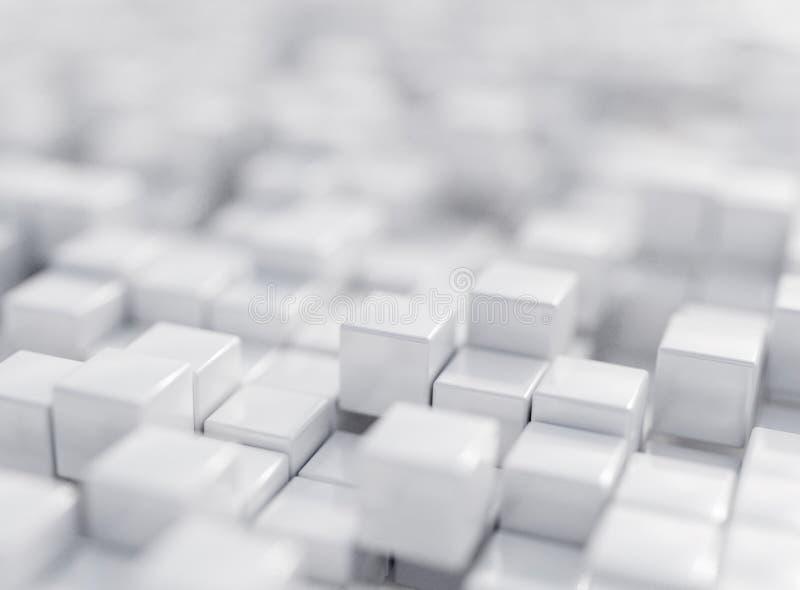 Белый, коробки, иллюстрация renderingabstract 3d, предпосылка, стоковые изображения