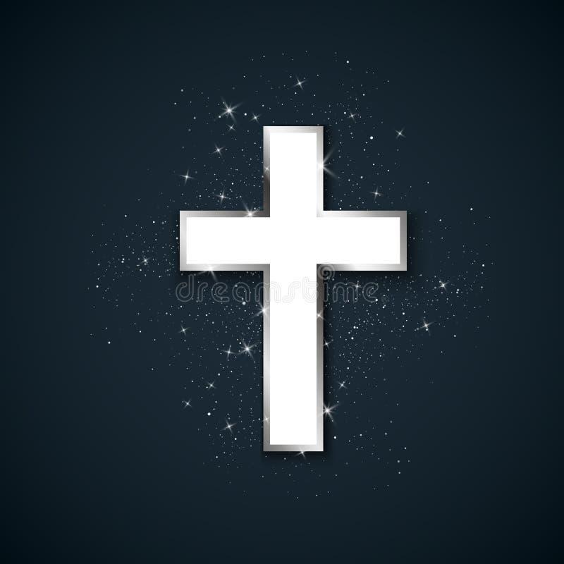 Белый Крест с серебряным ударом символизирует христианство Священно-металлический крест на темном фоне Символ надежды и веры Вект иллюстрация вектора
