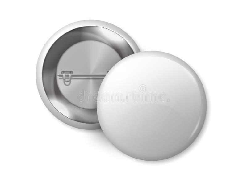 Белый круглый модель-макет значка Товар пробела кнопки Pin, реалистические ярлыки металла 3D конструирует шаблон Значок магнита в иллюстрация штока
