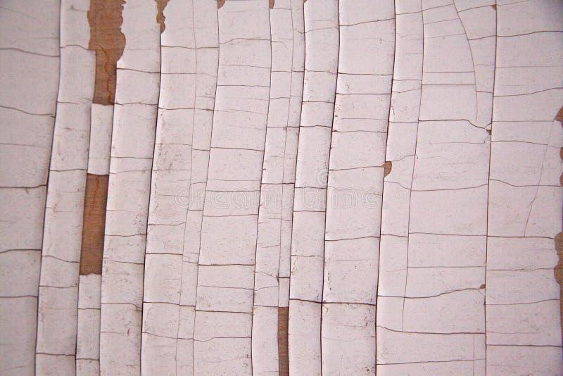 Белый кусок дерева с треснутой и откалыванной краской стоковая фотография rf