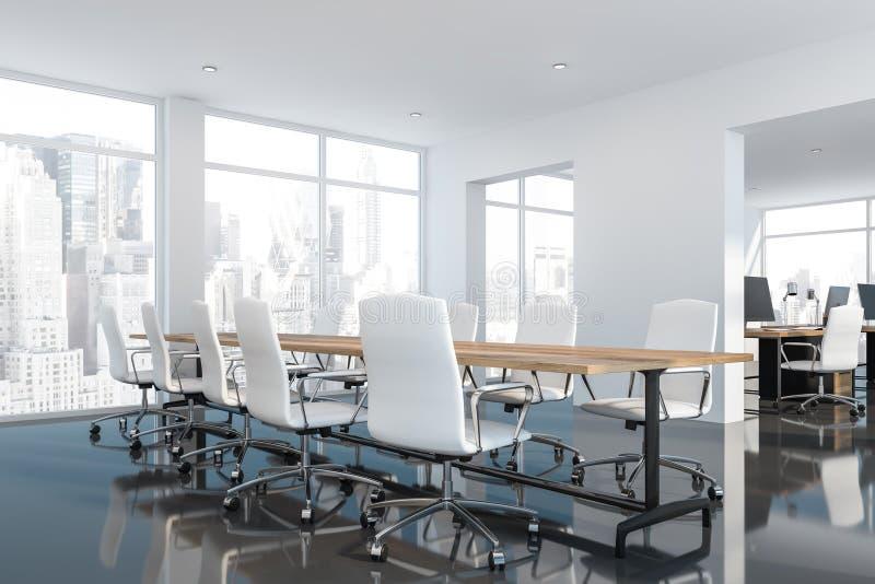 Белый лоснистый конференц-зал пола с открытым пространством бесплатная иллюстрация