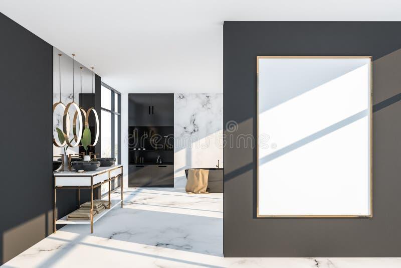Белый мраморный и серый интерьер bathroom, плакат иллюстрация вектора