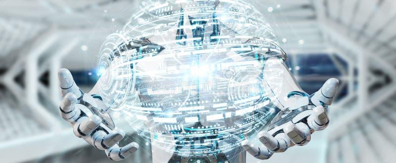 Белый мужской робот используя цифровой перевод интерфейса 3D hud глобуса бесплатная иллюстрация