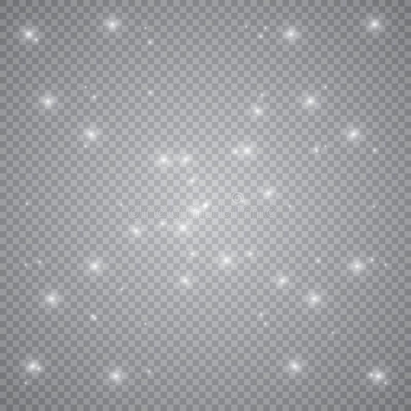 Белый накаляя светлый взрыв взрыва с прозрачным Иллюстрация вектора для холодного украшения влияния с лучем сверкнает Яркое sta бесплатная иллюстрация