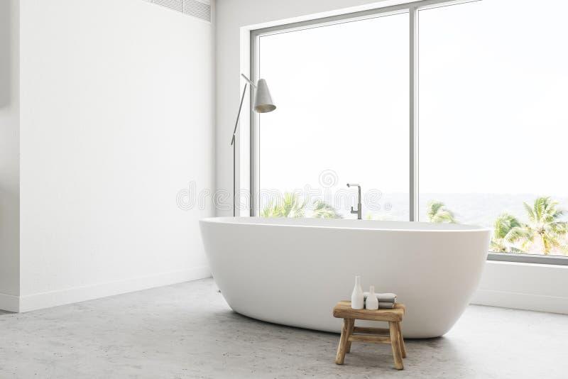 Белый панорамный взгляд со стороны интерьера ванной комнаты бесплатная иллюстрация