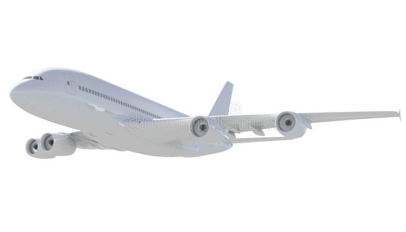 Белый пассажирский самолет. Взгляд со стороны иллюстрация штока
