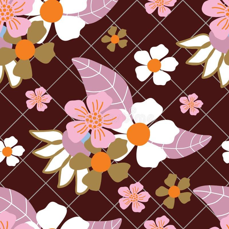 Белый, пинк, решетка оранжевых цветков зеленые и темный - картина красной предпосылки безшовная иллюстрация вектора