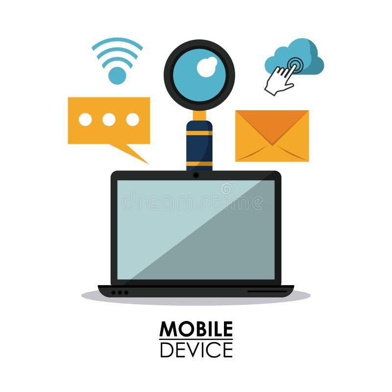 Белый плакат предпосылки мобильных устройств с портативным компьютером и общими значками иллюстрация штока
