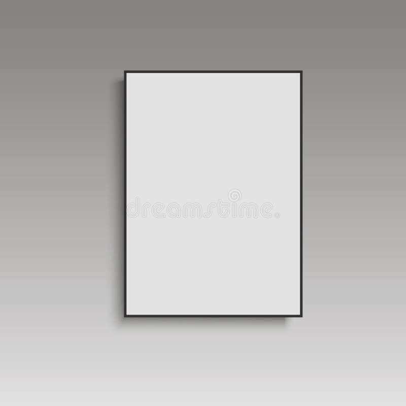 Белый плакат с черной насмешкой рамки вверх на серой стене вектор иллюстрация штока