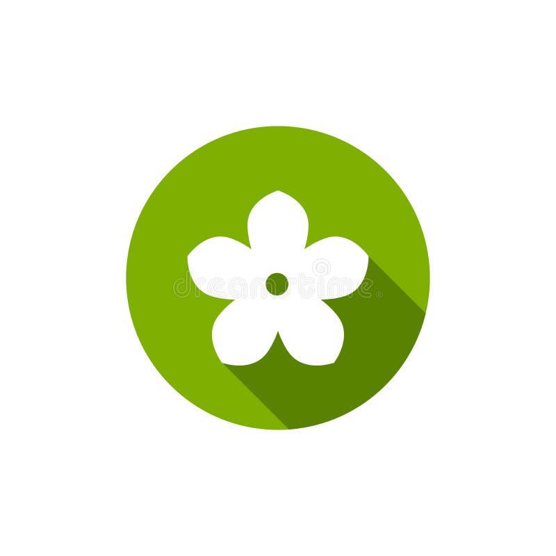 Белый плоский значок цветка с тенью в зеленом круге r r иллюстрация штока