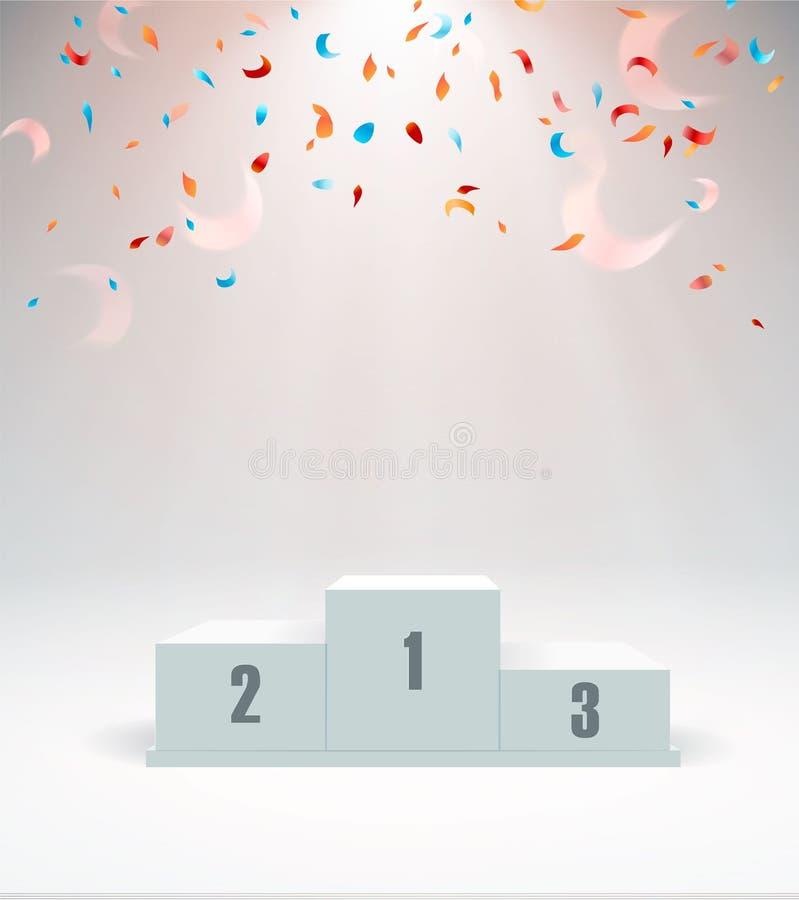 Белый подиум победителей с красным ковром и confetti Поставьте для церемонии наград постамент фара также вектор иллюстрации притя иллюстрация вектора