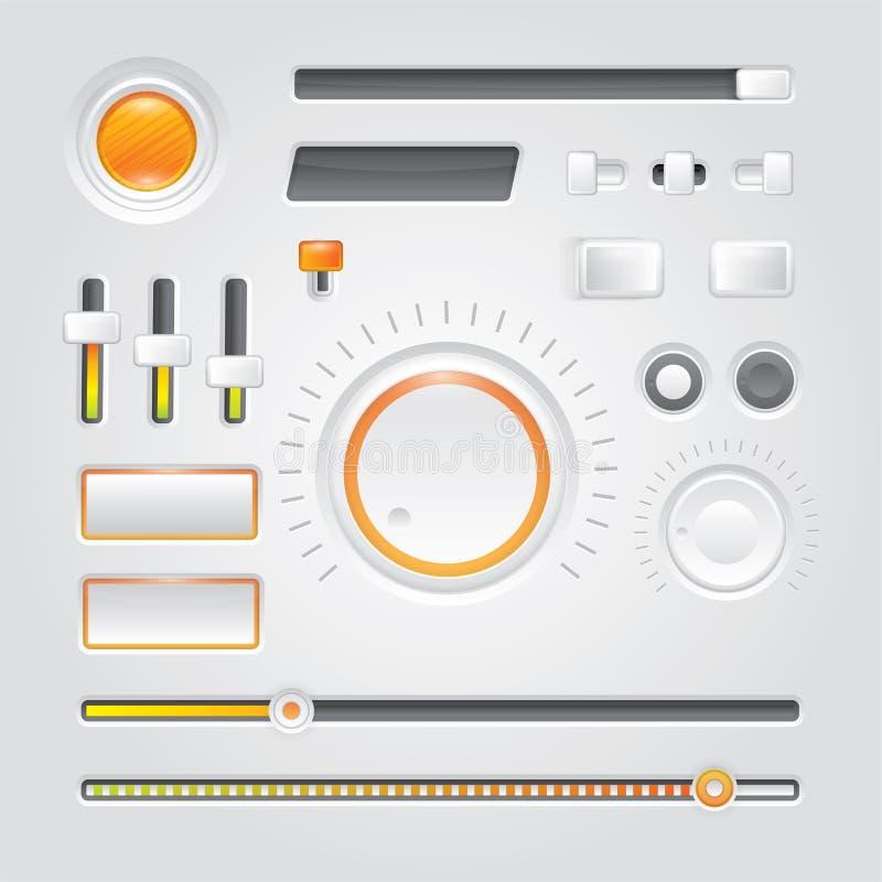Белый пользовательский интерфейс - ручки, кнопки бесплатная иллюстрация