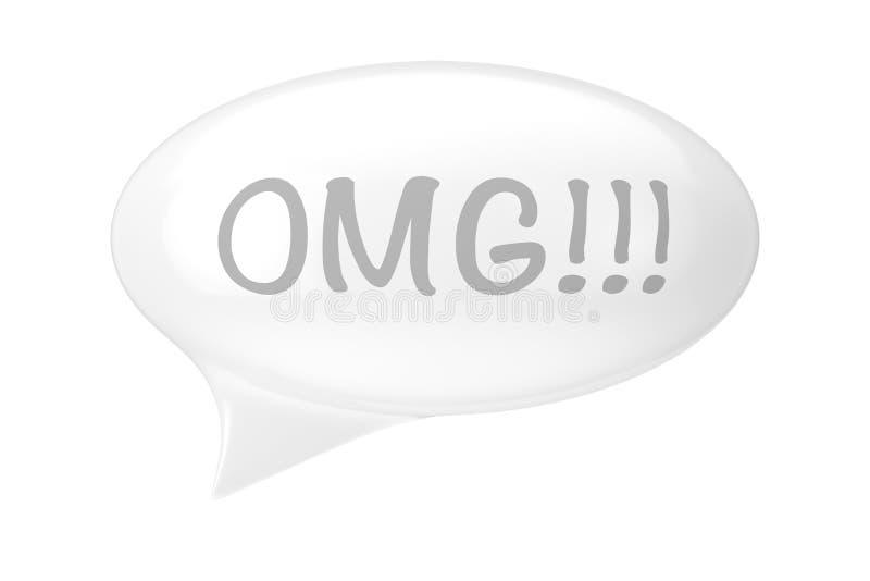 Белый пузырь речи со знаком OMG перевод 3d иллюстрация штока