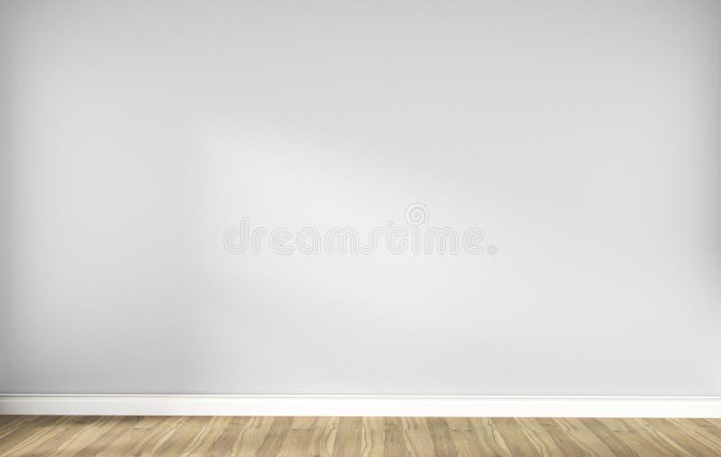 Белый пустой скандинавский интерьер комнаты с деревянным полом r иллюстрация вектора