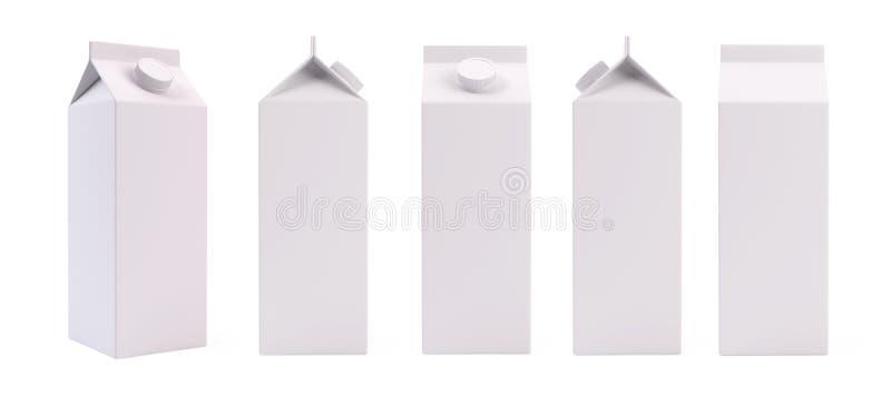Белый пустой шаблон коробки пакета молока или сока иллюстрация штока