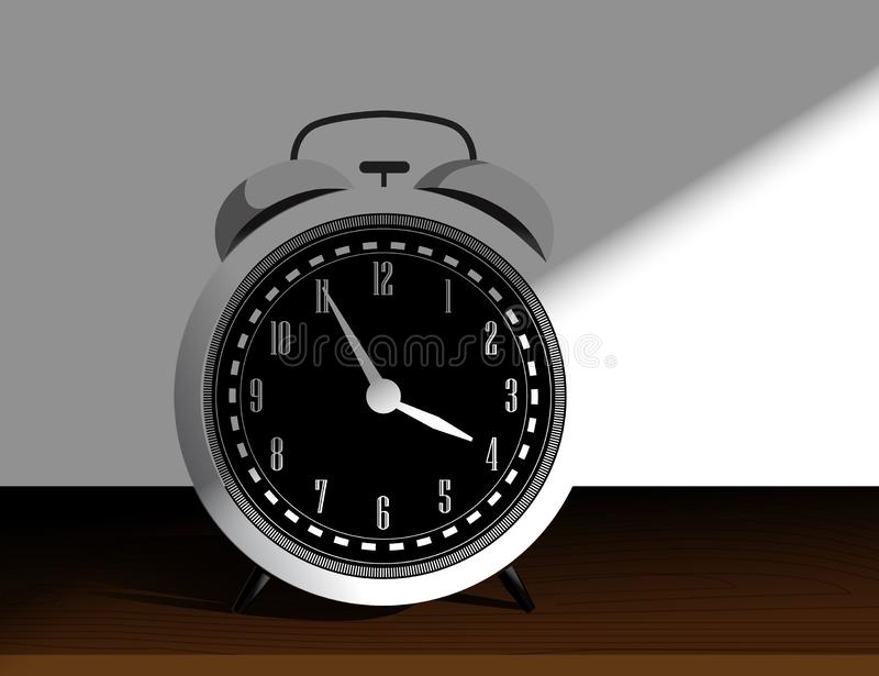 Белый ретро будильник на белой предпосылке с тенями r иллюстрация штока