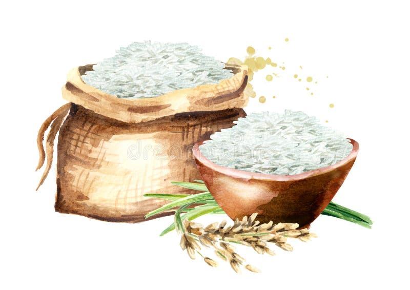 Белый рис в сумке и в шаре Иллюстрация акварели нарисованная рукой, изолированная на белой предпосылке бесплатная иллюстрация